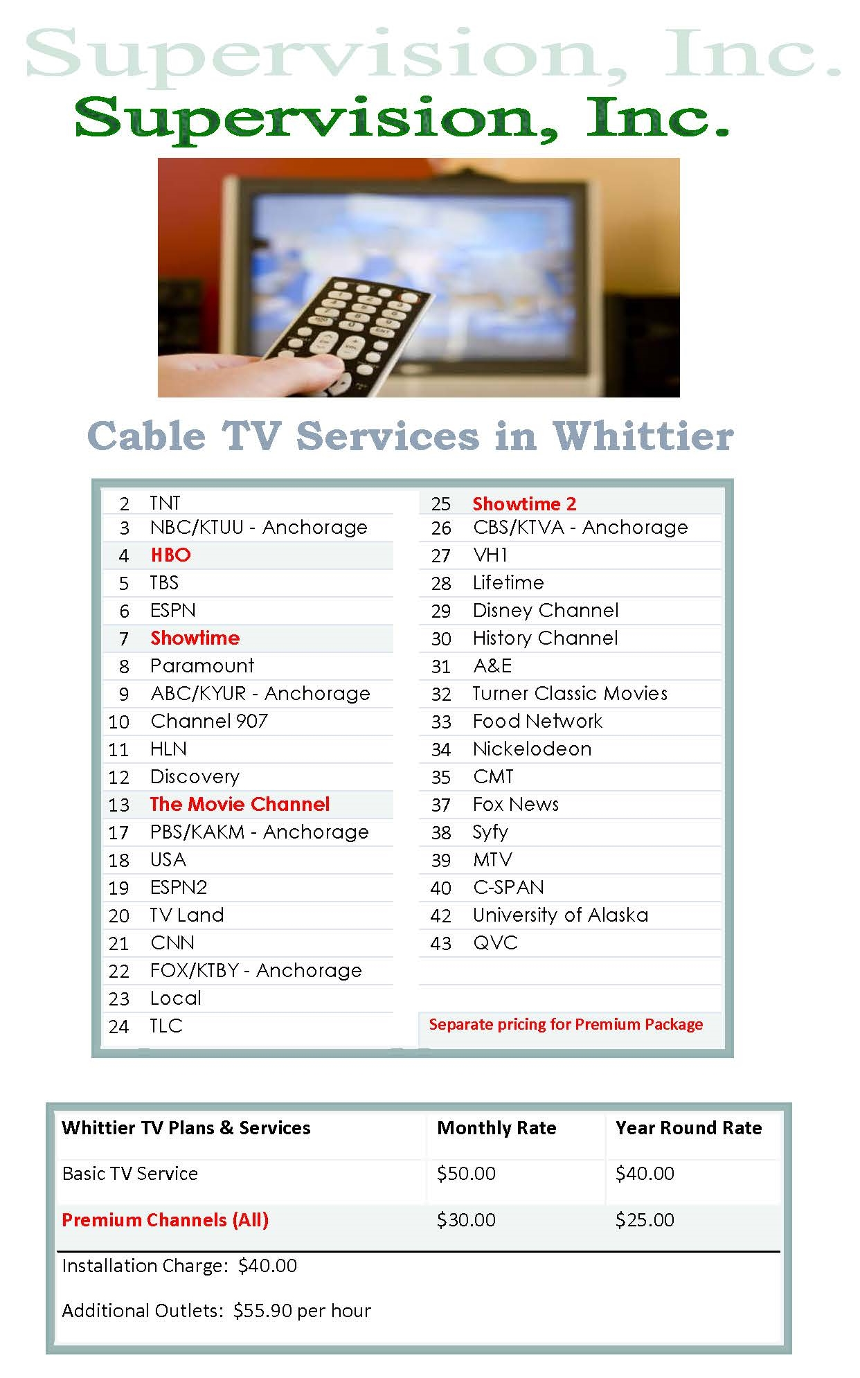 Cable TV-Whittier | United Utilities, Inc